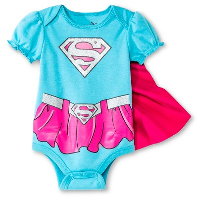 Supergirl Baby Girls' Caped Bodysuit - Blue 0-3 M