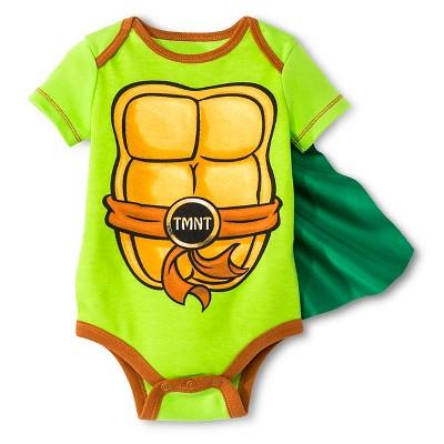 Teenage Mutant Ninja Turtles Baby Boys' Caped Bodysuit - Green 3-6 M