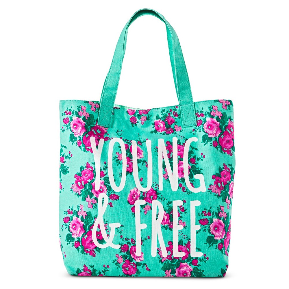 Girls' Floral Magnetic Closure Tote Bag - Mint (Green),  Women's