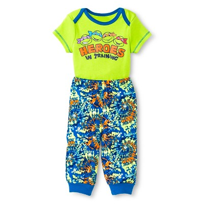 Teenage Mutant Ninja Turtles Baby Boys' Bodysuit & Jogger Pant Set - Green 3-6 M