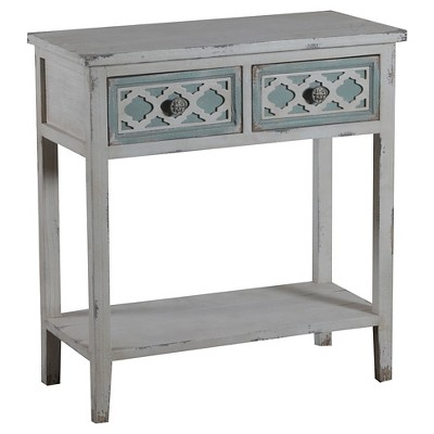 Aubrey 2 Drawer Console White/Gray - Powell Company