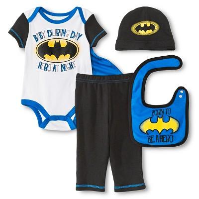 Batman Baby Boys' 5 Piece Set - White 0-6 M