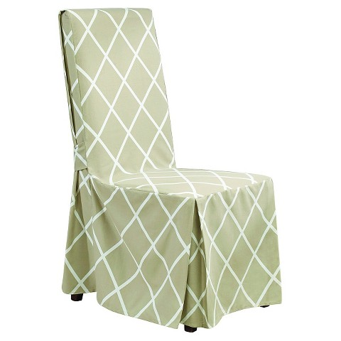 sure fit lattice long dining room chair slipcover product details page