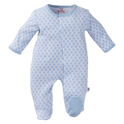 E=MC2 Boys' Magnetic Footed Sleepers - Blue 6-9M