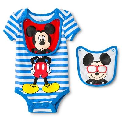 Disney Mickey Mouse Newborn Bodysuit & 2 Bibs - 6-9M Blue