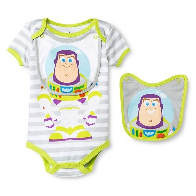 Disney Buzz Newborn Bodysuit & 2 Bibs - 0-3M Grey