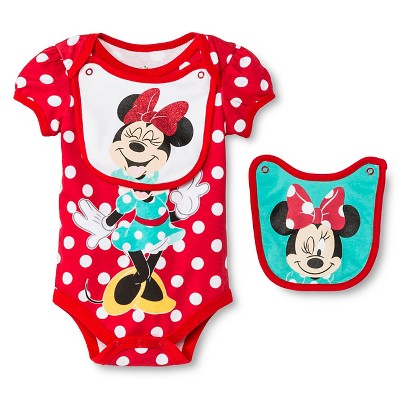 Disney Minnie Mouse Newborn Bodysuit & 2 Bibs - 0-3M Red