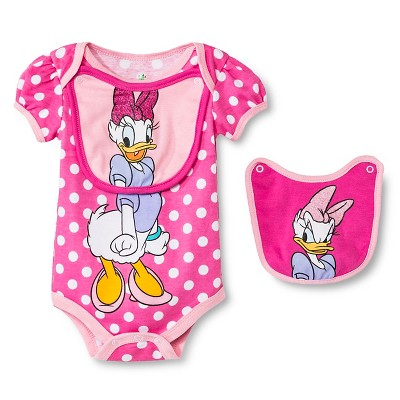 Disney Daisy Duck Newborn Bodysuit & 2 Bibs - 6-9M Pink