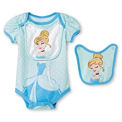 Disney Cinderella Newborn Bodysuit & 2 Bibs - 6-9M Blue