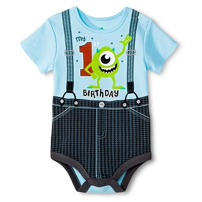Disney Mike Wazowski Newborn Birthday Bodysuit - 9M Blue