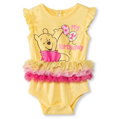 Disney Pooh Newborn Birthday Bodysuit - 12M Yellow