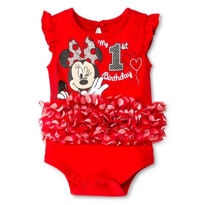 Disney Minnie Mouse Newborn Birthday Bodysuit - 9M Red