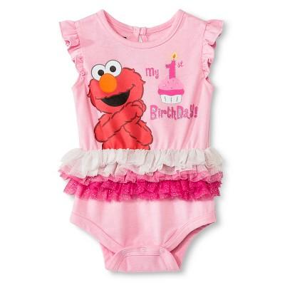 Sesame Street Elmo Newborn Birthday Bodysuit - 12M Pink