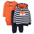 Just One You™ Made by Carter's® French Terry 3-Piece Hooded Cardigan Set Navy & Orange Fox NB