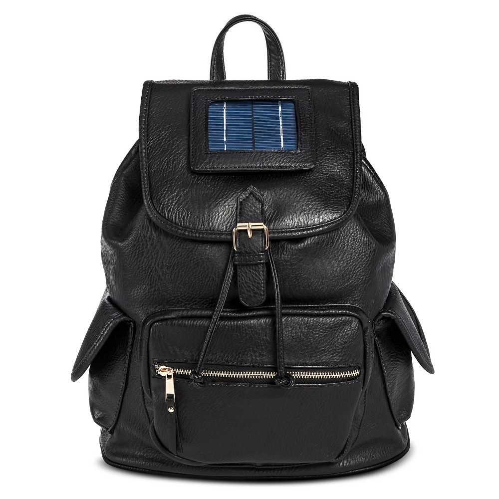 Women's Faux Leather Backpack Handbag with Solar Powered Charging Pack Black - Under One Sky