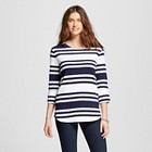 Women's Striped Structured 3/4 Sleeve Top - Merona™