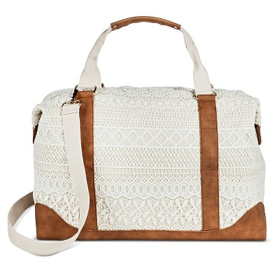 Women's Cream Crochet Overlay Canvas Weekender Handbag with Removable Crossbody Strap - Merona™
