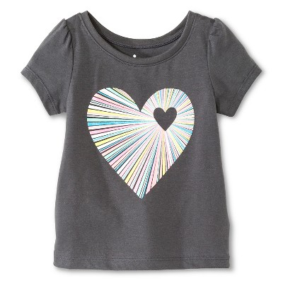 Baby Girls' Multi-Color Heart Short Sleeve Graphic Tee Gray 12M - Circo™