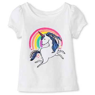 Baby Girls' Unicorn Short Sleeve Graphic Tee White 12M - Circo™