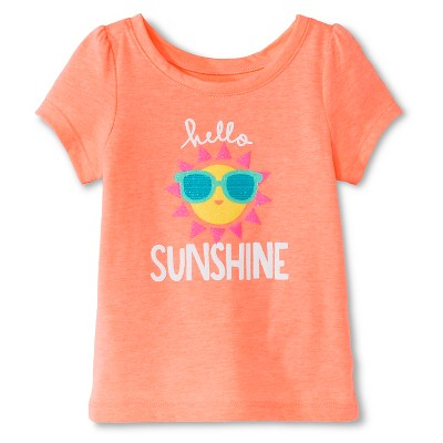 Baby Girls' Hello Sunshine Short Sleeve Graphic Tee Peach 12M - Circo™