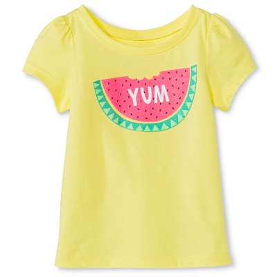 Baby Girls' Watermelon Short Sleeve Graphic Tee Yellow 12M - Circo™
