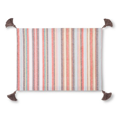 Coral Herringbone Stripe Placemat with Tassels - Threshold™