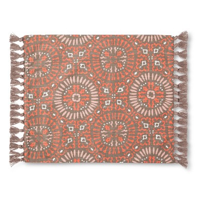 Coral and Gray Tile Print Placemat with Fringe - Threshold™