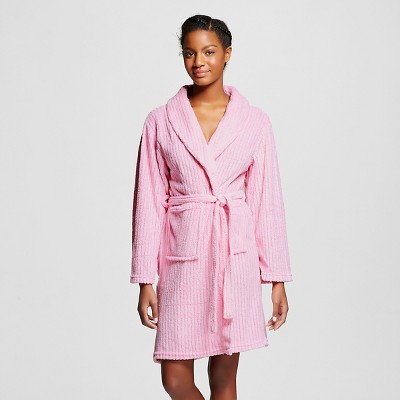Hotel Spa® Women's 3-Piece Cozy Textured Robe w/ Bonus Eyemask and Loofah - Pink One Size