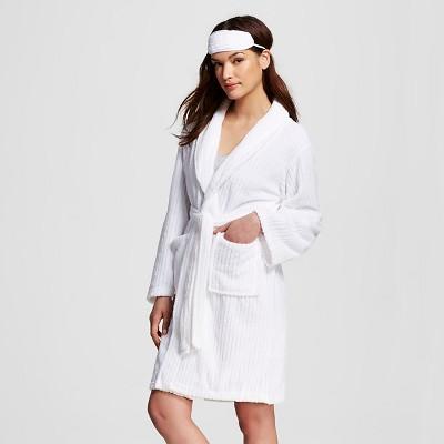 Hotel Spa® Women's 3-Piece Cozy Textured Robe w/ Bonus Eyemask and Loofah - White One Size