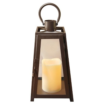 Metal Lantern with Battery Operated LED Candle- Warm Black Tapered