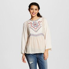 Women's Lace Inset Embroidered Peasant Blouse - Flying Tomato (Juniors')