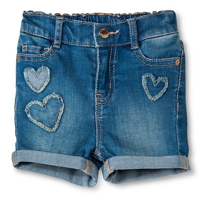 Baby Girls' Heart Patch Jean Short Blue 18M - Genuine Kids from Oshkosh™