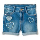 Toddler Girls' Heart Patch Jean Short Blue - Genuine Kids from Oshkosh™
