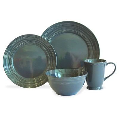 Baum Bros. 16-pc. Darby Charcoal Dinnerware Set