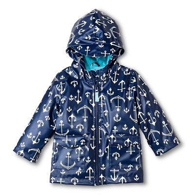 Baby Boys' Anchor Print Raincoat with Hood Navy 12M - Cherokee®