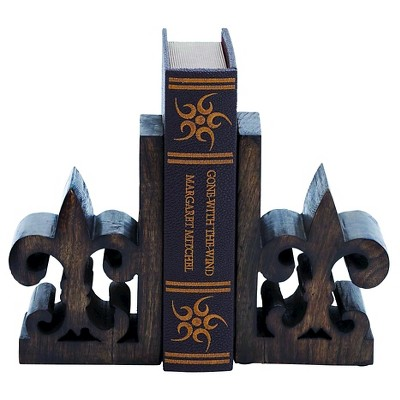 Book End Pair with Bold Fleur De Lis Motif