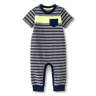 Baby Boys' Stripe Romper One Piece Navy/Heather Stripe 18M - Cherokee®