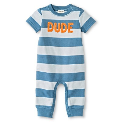 Baby Boys' Dude Romper One Piece Blue Stripe 0-3M - Cherokee®