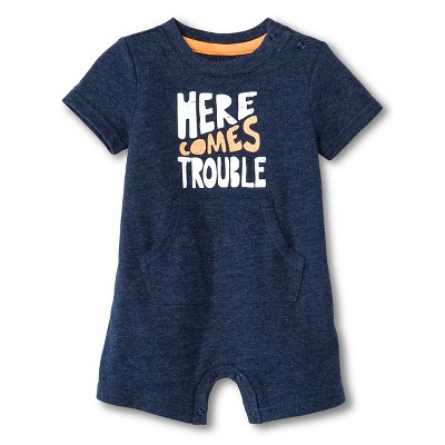 Baby Boys' Trouble Romper One Piece Nighttime Blue 0-3M - Cherokee®