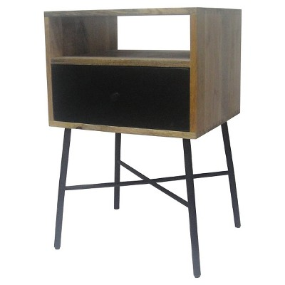 One Drawer Side Table Brown/Black - Threshold™