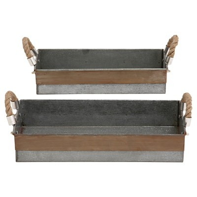 Antique and Classy set of Two Galvanized Tray