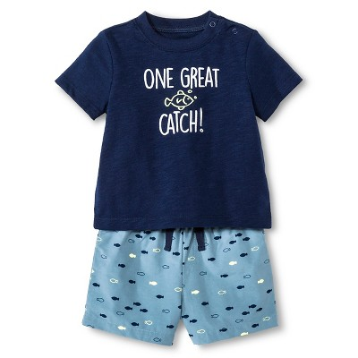 Baby Boys' 2 Piece Great Catch Set Blue - Cherokee® 6-9 M