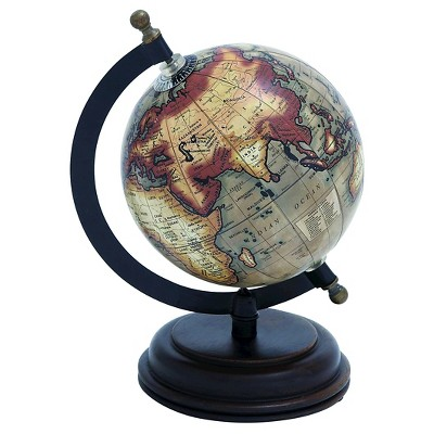 Metal Wooden Globe with Distinctive Pattern