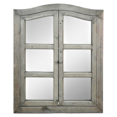 21x27in. Dark Wood 2-Door Window Pane Wall Mirror