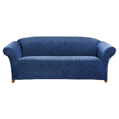 Sure Fit Stretch Ribbon Stripe Sofa Slipcover - Indigo