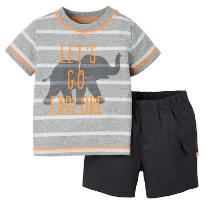 Just One You™Made by Carter's® Newborn Boys' 2 Piece Short Set - Light Grey/Dark Grey 6M