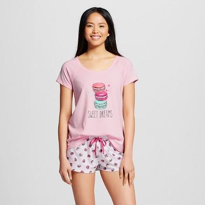 Women's Tee/Short Pajama Set Pink XL - Macaroons/Sweet Dreams