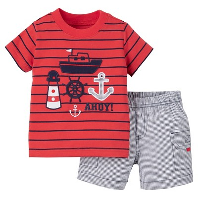 Just One You™Made by Carter's® Newborn Boys' 2 Piece Pant Set - Red/Blue Multi 6M