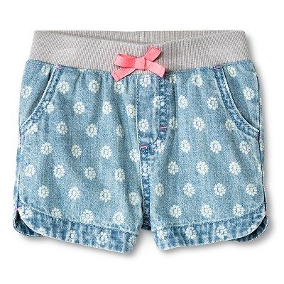 Baby Girls' Floral Jean Short Light Wash 18M - Cherokee®