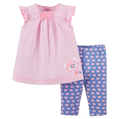 Just One You™Made by Carter's® Newborn Girls' 2 Piece Capri Set - Pink/Blue 3M
